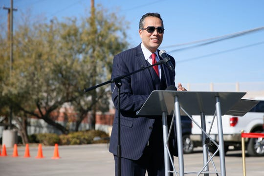 """City Manager Tommy Gonzalez speaks at the unveiling of """"Woven Culture"""" a public art project that is located at the top of the Carolina Bridge by Museums and Cultural Affairs Department Thursday, Jan. 9, in El Paso. The new artwork produced by Creative Kids was incorporated in the bridge that runs from Alameda Avenue to Franklin Drive and takes traffic over railroad tracks and the Franklin Canal."""