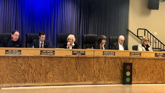 Moorpark City Council members listen to a presentation on new state housing laws on Jan. 8, 2020.