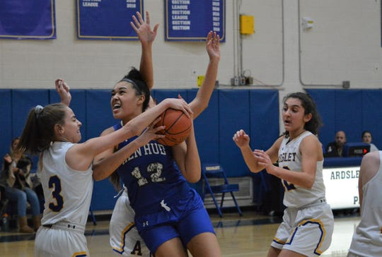 Hen Hud center Caitlyn Weimar (12) led Hen Hud to a 59-35 win over Ardsley on Jan. 8, 2020. The Marist recruit had 31 points and 27 rebounds.
