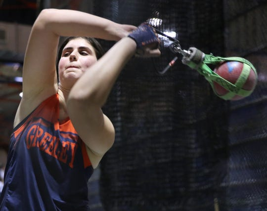 Horace Greeley's Kira Lindner places third place in the girls weight throw during The Millrose Games Trials at The Armory in Manhattan Jan. 8, 2020.