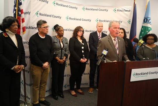 Rockland County Executive E Day talks about Human Rights Commissioner Constance Frazier plans for community forums and advocating ways to ease divisiveness and hate speech during a press conference in New City Jan. 9, 2020.
