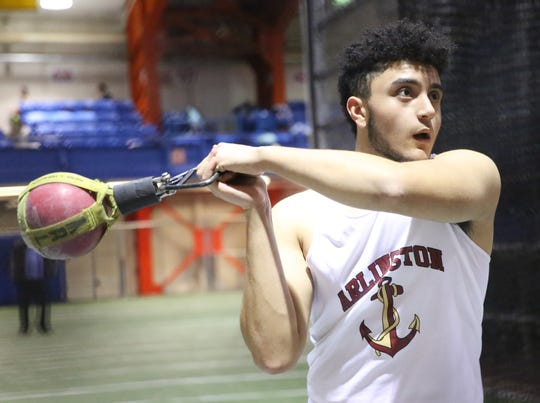 Jeremy Gouraige Arlington throws his personal best of 57-01.00 in the boys weight throw during The Millrose Games Trials at The Armory in Manhattan Jan. 8, 2020.