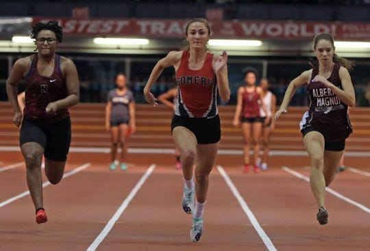 Ashley Moon of Somers places third with the time of 7.36 during the Girls 55 Meter Dash run during The Millrose Games Trials at The Armory in Manhattan Jan. 8, 2020.
