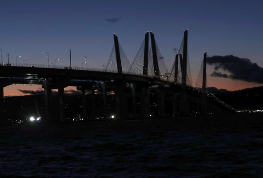The Gov. Mario M. Cuomo Bridge has been dark -- its towers, cables and supports unlit -- since Veterans Day 2019. This is a view of the bridge from Tarrytown on Jan. 8, 2020.