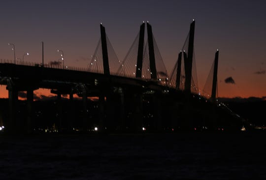 The darkened Gov. Mario M. Cuomo Bridge on Jan. 8, 2020. The bridge's LED light display has been dark since Veterans Day.