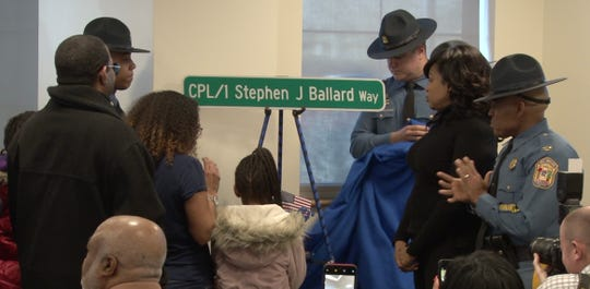 LaGrange Ave. in Glasgow was renamed Thursday Cpl/1 Stephen J. Ballard Way.  A new sign was unveiled at a ceremony Thursday at Troop 2 in Glasgow.