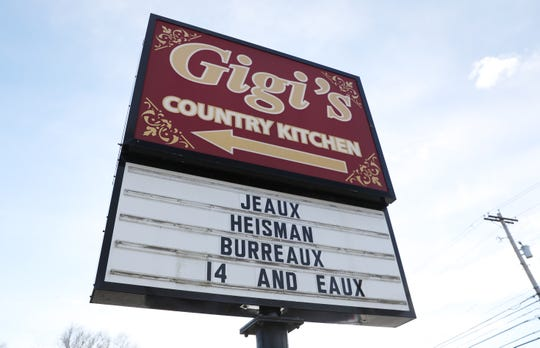 The sign outside Gigi's Country Kitchen in The Plains honors Heisman Trophy winner and Athens High School product Joe Burrow.