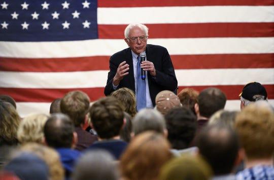 Sen. Bernie Sanders, I-Vt., campaigns in Anamosa, Iowa, on Jan. 3, 2020.