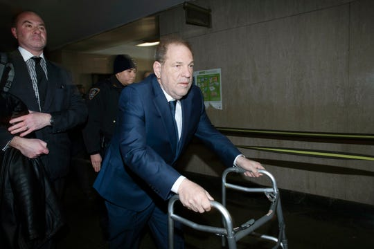 Harvey Weinstein arrives at a Manhattan courthouse for jury selection in his sex-crimes trial Thursday in New York.