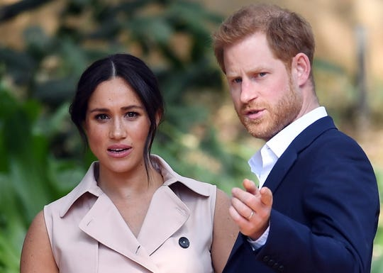 Duchess Meghan of Sussex and Prince Harry at a reception in Johannesburg, South Africa, October 2, 2019.