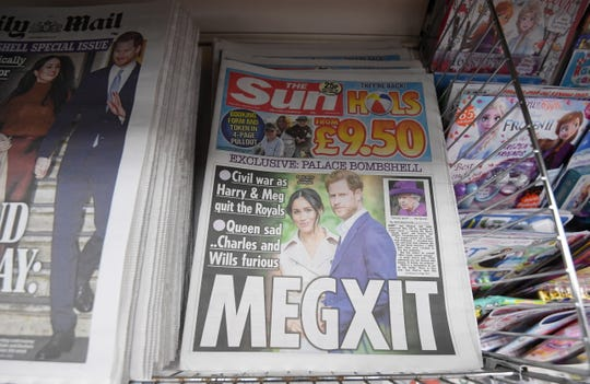 The front page of The Sun in a news agent in London, January 9, 2020.