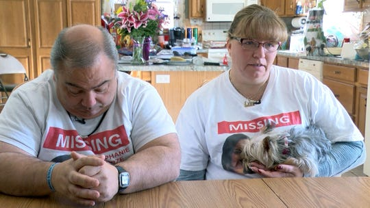 Ed and Sharlene Parze speak during an interview at their Freehold home Thursday, January 9, 2020, about the continuing efforts to find their missing daughter Stephanie.  Staying close in Sharlene's arm is Stephanie's dog Jasmine.