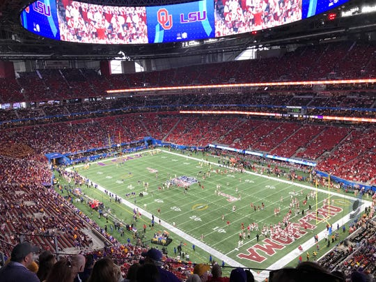 LSU and Oklahoma warm up prior to the College Football Playoff semifinal Dec. 28 at Mercedes-Benz Stadium in Atlanta