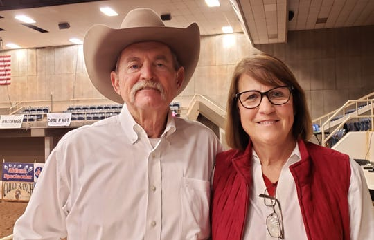 Jody and Cathy Thiebaud, who came to Abilene to participate on the 2020 Abilene Spectacular. Jody Rode Sumkinda Sweet Thang in the 5/6 year old amateur competition.