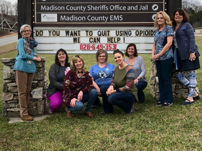Representatives from the Madison County Health Department (from left, Dr. Marianna Daly, Beth Wilson, Jennifer Angel, Wendy Owenby, Rachel Potter, Melinda Morrow, NP, Cindy Kent, and Tammy Cody) work to promote a new substance use disorder program.
