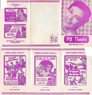 These Pix Theatre mail ads from 1955 helped Black Mountain residents learn what film releases were on the horizon.