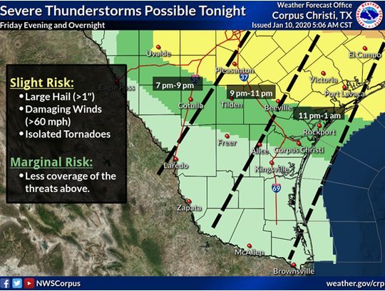 A powerful storm system is expected to bring severe thunderstorms north of the Coastal Bend early Saturday morning between midnight and 2 a.m., according to the National Weather Service Corpus Christi.