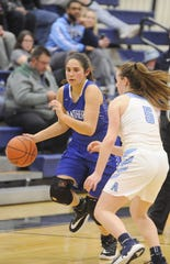 Southeastern's Macie Graves dribbles the ball around half court during a 51-35 win over Adena on Thursday Jan, 9 2020 at Adena High School in Frankfort, Ohio.