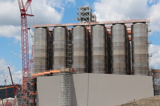 These tanks, shown here in June 2019, will hold the plastic pellets produced by Shell's ethane cracker. According to Shell, 1.6 million metric tons of plastic will be produced there annually. Shell is building a cracker along the Ohio River in Beaver County, north of Pittsburg