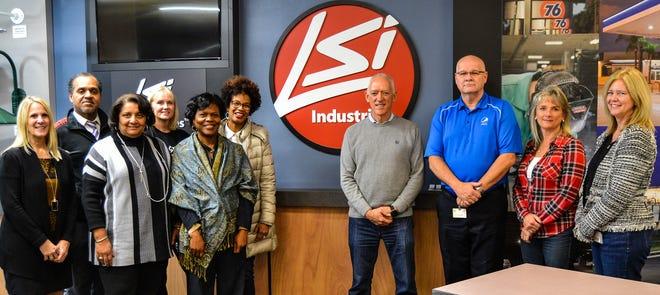 Dr. Reva Cosby, Mt. Healthy City School District Administrators, Jim Clark, and LSI Industries Blue Ash Administrative Team.