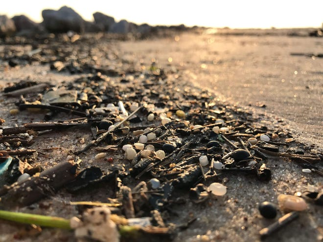 Nurdles along the shores of Galveston Bay in Texas, home to many petrochemical plants, which can inadvertently spill pellets.