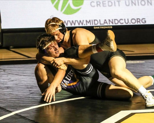 Jan 8, 2020; Pleasant Hill, Iowa, USA; At 195 lbs Gabe Christenson (Southeast Polk) over Cole Spyksma (Waukee) (TF 16-1 3:05) at SE Polk High School.  The Rams beat the Warriors 63 to 11. Mandatory Credit: Reese Strickland-for the Herald