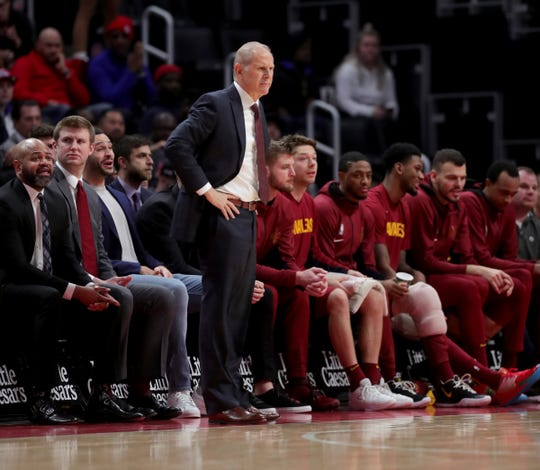 Cavaliers coach John Beilein during action against the Pistons, Jan. 9, 2020 at Little Caesars Arena.