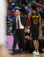 Cleveland Cavaliers coach John Beilein during action against the Detroit Pistons, Thursday, Jan. 9, 2020 at Little Caesars Arena.