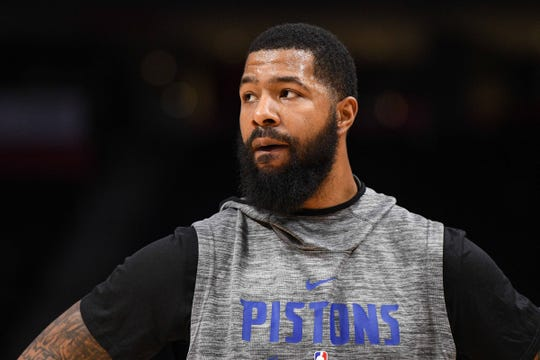 Detroit Pistons forward Markieff Morris before the game against the Cleveland Cavaliers at Little Caesars Arena, Thursday, Jan. 9, 2020.