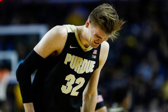 Purdue center Matt Haarms walks off the court at a timeout during the first half against Michigan at Crisler Center in Ann Arbor, Thursday, Jan. 9, 2020.