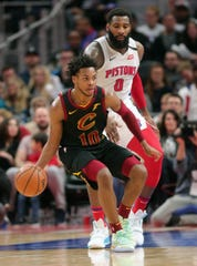 Andre Drummond defends Darius Garland during the fourth period Jan. 9, 2020 at Little Caesars Arena.