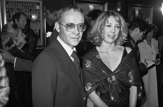 """FILE - In this Nov. 15, 1977, file photo, Buck Henry and Teri Garr appear at the opening of the movie """"Close Encounters of the Third Kind"""" in New York."""