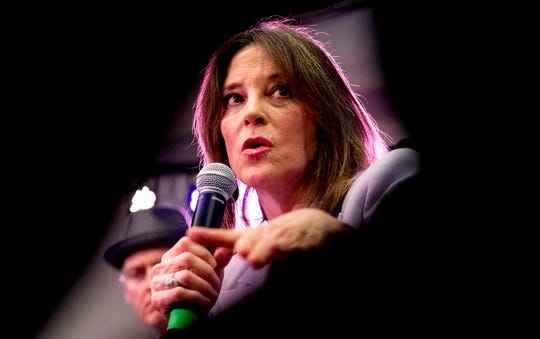 Democratic presidential candidate Marianne Williamson speaks at a the Faith, Politics and the Common Good Forum at Franklin Jr. High School, Thursday, Jan. 9, 2020, in Des Moines, Iowa. Williamson is ending her presidential run on Jan. 10, 2020, after failing to gain traction in polls or fundraising.