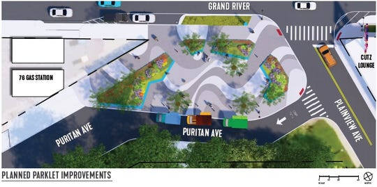Rendering of the planned parklet at the intersection of Grand River, Puritan and Plainview in the Grandmont neighborhood of Detroit.