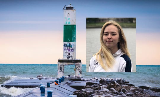 Teenager Eliza Trainer is shown with the concrete pier on Holland's shore where she lost her life.