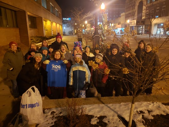 Fifth and sixth grade students with Ascension Lutheran Church's Kids of God program recently placed scarves downtown for members of Fond du Lac's homeless community.