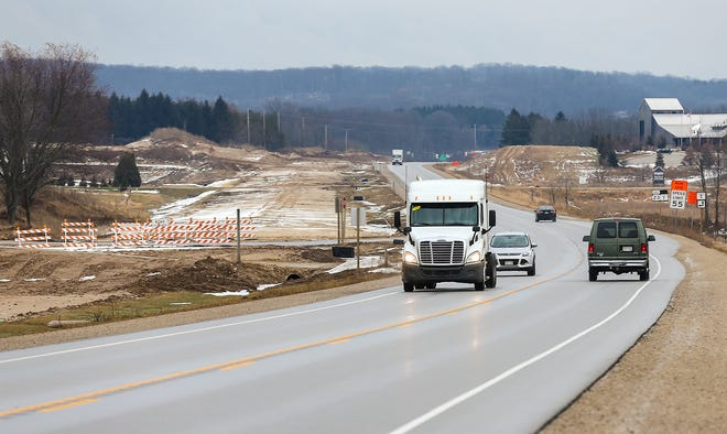 Work on the expansion of State Highway 23 from two lanes to a four lane divided highway continues Thursday, January 9, 2020 near Highway T in Sheboygan County. Doug Raflik/USA TODAY NETWORK-Wisconsin