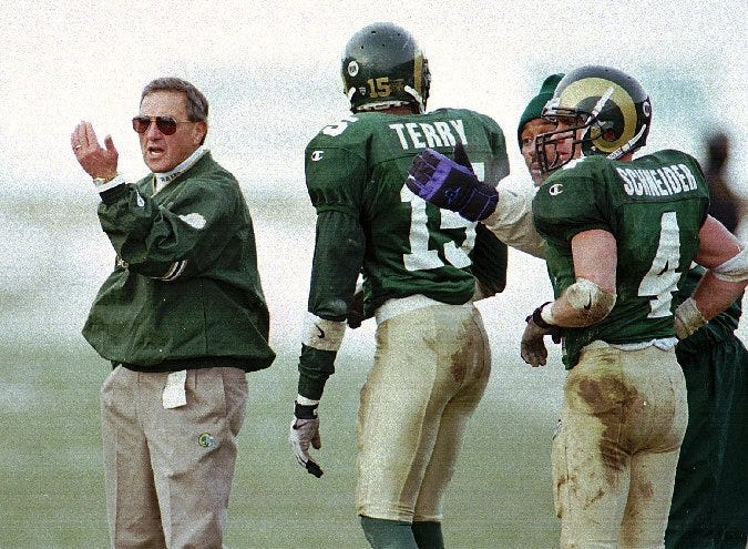 Sonny Lubick directs his team during a home game in 1996.