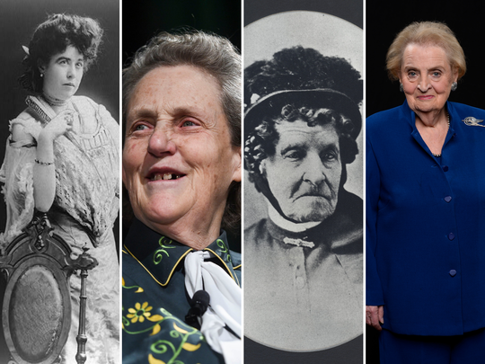 From left, Molly Brown, Temple Grandin, Elizabeth Stone and Madeleine Albright are just some of Colorado's extraordinary women.