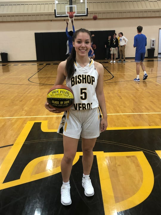 Bishop Verot senior Catie Reszel hit the 1,000-point mark in her high school career Friday scoring 20 points in a 56-21 Viking win over Canterbury.