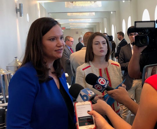 Florida Attorney General Ashley Moody talks Thursday, Jan. 9, 2020, about her office's new partnership with Uber to train thousands of Uber drivers to spot human trafficking victims before Super Bowl 2020 in Miami.