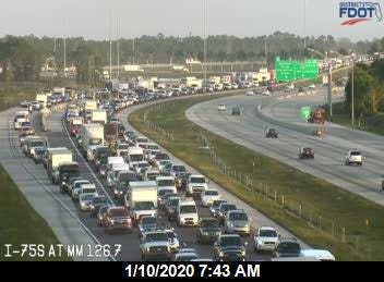 A crash with injuries on the southbound lanes of Interstate 75 near Corkscrew Road is causing traffic congestion, according to the Florida Highway Patrol.