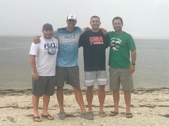 (From left) Lehigh boys basketball coach Greg Coleman, Evangelical Christian coach Scott Guttery, Wesley College coach Dean Burrows and Fort Myers Special Olympics coordinator Garret Copeland are all former assistant coaches under Bishop Verot coach Matt Herting.