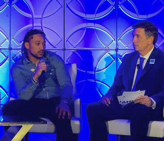 Miami Dolphins player Albert Wilson joined a summit of hotel industry officials, lawmakers and public officials Jan. 9, 2020, at the Fontainebleau Miami Beach to raise awareness about human trafficking before Super Bowl 2020.