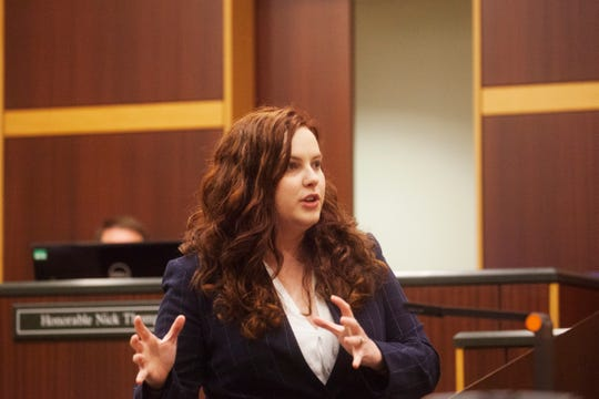 Assistant State Attorney Erin Hughes gives a closing statement during the rape trial of Jeovanni Hechovarria at the Lee County courthouse on Friday, Jan. 10, 2020.