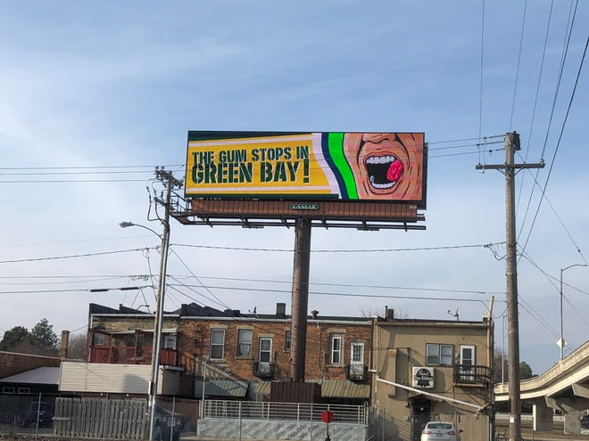 A billboard near the Mason Street bridge in Green Bay pokes fun at Seattle Seahawks coach Pete Carroll ahead of the team's playoff game against the Packers.