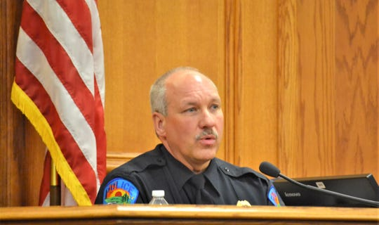 Suring Police Chief Phil Christenson testifies Jan. 7 during the trial of Tyler Readman in Oconto County Circuit Court.