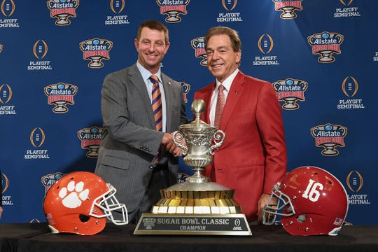 Clemson's Dabo Swinney, left, and Alabama's Nick Saban have seen their teams meet four times in the College Football Playoff.