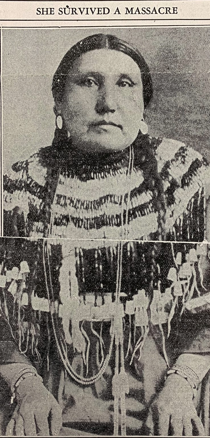 Chief Heavy Runner's 5-year-old daughter, Spear Woman, survived the massacre. Though she died in 1920, she left her children with a description of the massacre, which was published in a 1932 edition of the Billings Gazette.