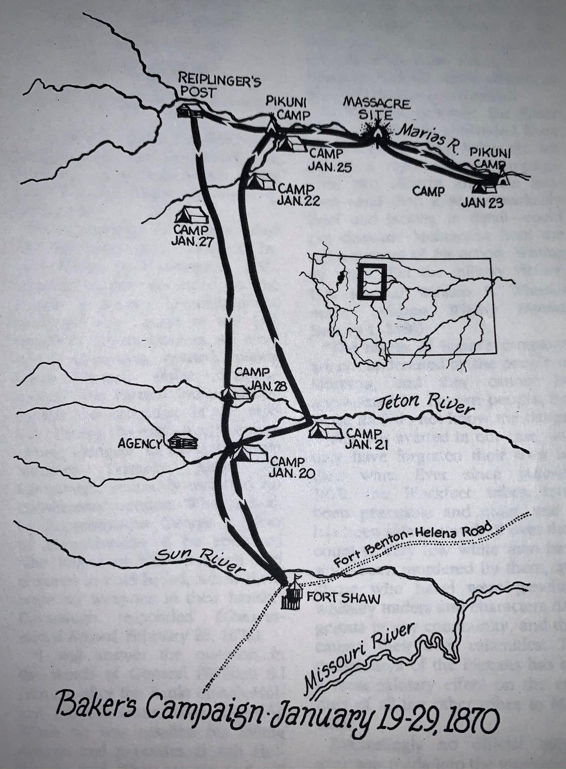 A map showing Baker's route to and from the massacre site.